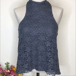 Hollister Velvety Lace Top XS